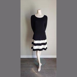 Eliza J. Long sleeve black & white striped dress - large